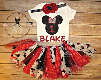 Minnie Mouse First Birthday Outfit. Minnie Mouse Fabric Tutu . First Birthday Outfit. One Glitter Onesie . Minnie Mouse Headband