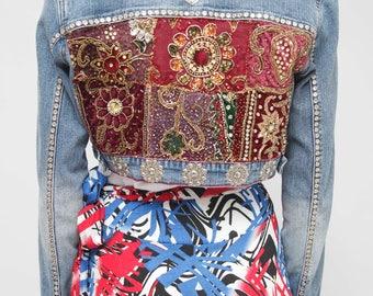 Boho Cropped Embroidery Jean Jacket/  Vintage Embroidery  Denim Jacket/ Light Wash Reworked Denim  Jacket/ Woman Denim / Medium