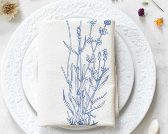 Lavender Tea Towel - Flour Sack Towel - Handmade Kitchen Towel - Cotton Dishcloth - Tea Towels - Flour Sack Towels - Botanical Print - Fleur