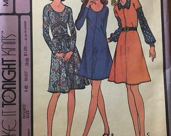 McCalls 3308 - Make It Tonight Knee Length Dress or Jumper with Scoop Neck - Size 16 Bust 38