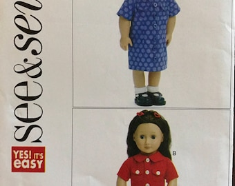 "See & Sew B5552 - Easy to Sew Dolls Shirtdress, Collared Shirt, and Pants - 18"" Doll"