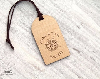 Personalized wood luggage tag by TreeX, solid wood bag tag, custom luggage tags, custom names