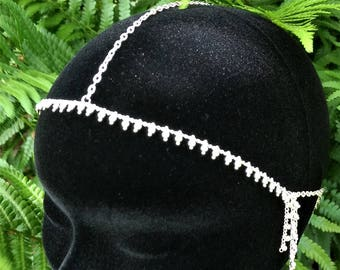 Silver head jewelry, silver chains head decoration, tribal fusion headpiece, hairdo, woman headdress, gift for her