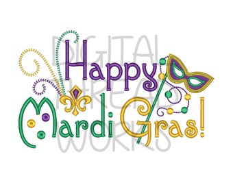 Happy Mardi Gras Embroidery Design Instant Download for 4x4 5x7 and 6x10 inch hoops. Mask Beads Fleur de lis ITEM# HMGMB01