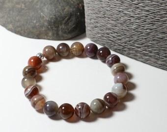 Botswana Agate ~ Stretch Bracelet Yoga Bracelet ~ Sterling Silver ~ Stacker Bracelet ~ Agate Bracelet ~ Natural ~ Gemstone Bracelet ~ Gift