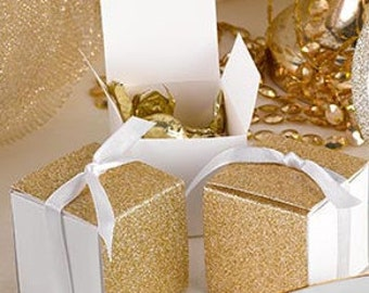 Glitter Wrap Favor Boxes - Gold or Silver