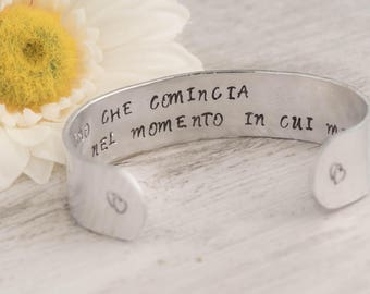 Wife bracelet as secret message bracelet as texture cuff-quote bracelet as affirmation jewelry as Birth Day Gift idea with You are my person
