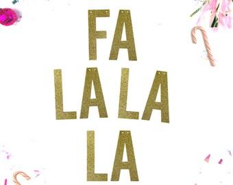 Fa La La La /// Christmas Glitter Banner