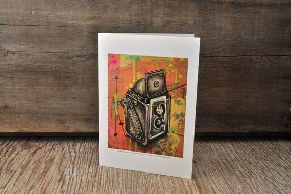 Vintage Kodak Duaflex camera blank greeting card