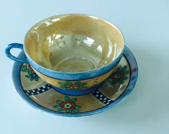 Vintage Iridescent Blue Teacup