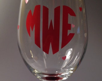 Falling Hearts Glittered Stem Monogramed Wine Glass