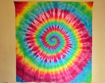 Large hippie rainbow spiral tapestry