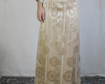 70s Gold Floral Maxi Skirt // Vintage NYE Groovy New Years Cream Brown Long Skirt // Size: XS