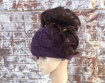 KNIT PONYTAIL BEANIE Hat, Messy Bun Hat Beanie, Pick Your Colors, Ponytail Knit Hat
