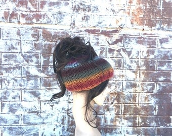 COLORFUL MESSY BUN Beanie Hat, Bright Knit Ponytail Hat Headband