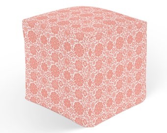 Floral Ottoman, Cube Pouf Footrest, Polyester Ottoman, Pink White Decor, 18x18 Ottoman, 13x13 Cube Seat, Durable Footstool, Coral Hassock