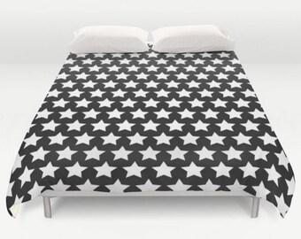 black white duvet stars coverlet patterned bedding modern bed cover star bedspread