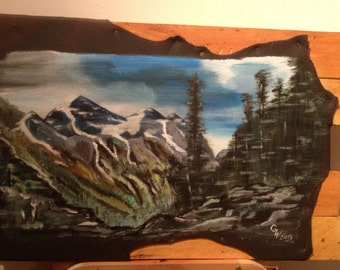 """Painting on leather """"In the Rocky mountains"""""""