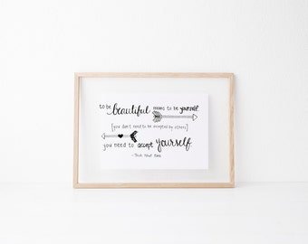 To Be Beautiful Hand lettered home wall art, print, typography gift, holiday present, bedroom home decor quote, card, mom sister friend dad