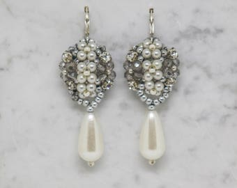 bridal beaded pearl drop earrings