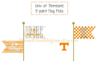 University of Tennessee Flag Picks Printables: Cupcake Toppers Craft Projects DIY Tailgate Supplies Party Decor