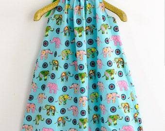 Pillowcase dress, multicoloured dress, toddler dress, girl dress, blue dress, elephant print dress, elephant, summer dress, blue, ribbon