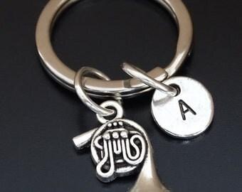 French Horn Keychain, Custom Keychain, Custom Key Ring, French Horn Pendant, French Horn Charm, French Horn Jewelry, French Horn Player