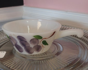 "Vintage Fire King Milk Glass ""Fruit"" ""Gay Fad"" Soup Bowl With Handle!"