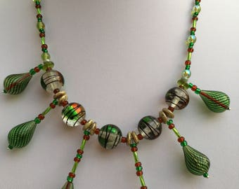 Hand Crafted Green Blown Glass Beaded Necklace.