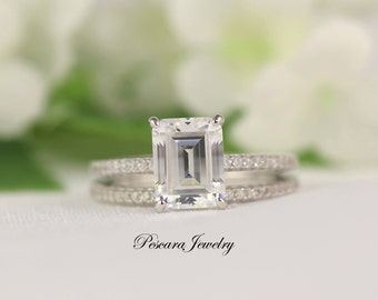 Emerald Cut Engagement Ring, Wedding Ring Set, Cubic Zirconia Promise Ring,  Silver CZ