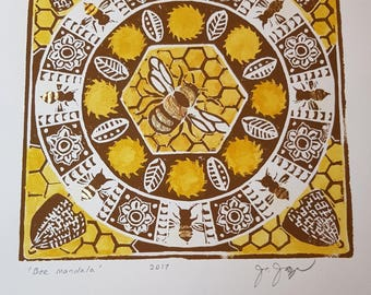 Bee Mandala - original hand-pulled linocut, hand-coloured and gilded; 15 x 15 cm image; unframed