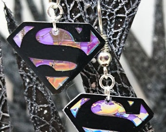 Superman Recycled CD Earrings