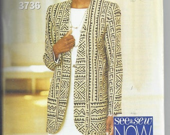 Butterick/See and Sew 3736 Sewing Pattern from 1994.  Easy Pattern.  Misses Jacket and Dress  Bust 38-46  UNCUT