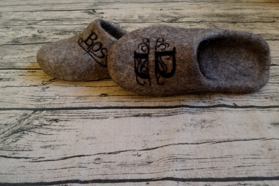 Custom Personalized Mens Felted Slippers Boss Backless Home shoes Wool Designer Shoes Artistic Calligraphy