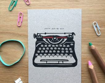 You're just my type, typewriter, postcard mix and match set, postcard set