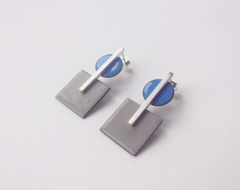 Block and Dot Earring