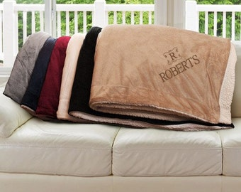Embroidered Blanket, Name & Initial Sherpa Throw, Family Name Blanket