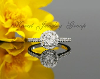 6.5mm Forever One Moissanite Halo Engagement Ring in 14k White Gold (avail. in  rose gold, yellow gold, white gold and platinum)