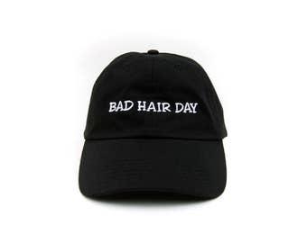 Bad Hair Day Hat, Bad Hair Day Baseball Cap, Embroidered Baseball Cap, Adjustable Strap Back Baseball Cap, Low Profile, Black