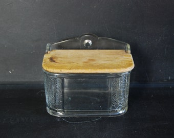 Vintage French 60s glass salt canister, wall mount, wooden flap lid to canister.  Large size. Upcycled as tea canister.