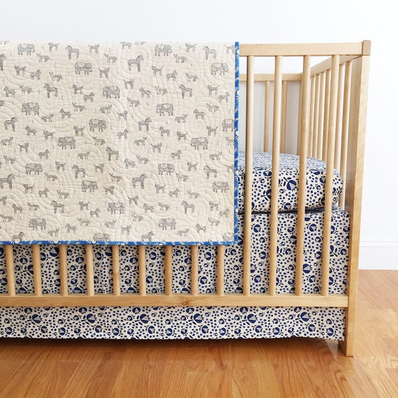 Crib Skirt in Flower Shop Thistle in Indigo - MADE-to-ORDER - navy blue crib skirt, floral crib skirt, flower bedding, modern baby bedding
