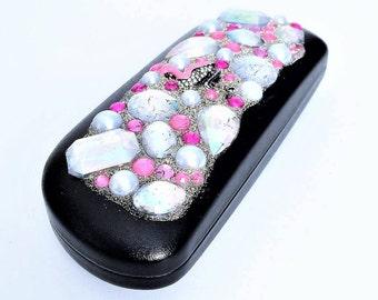 Hard Eyeglass Case with Pink flamingo, Bling Eyeglasses case, Glitz Flamingo Case, Women eyeglass case