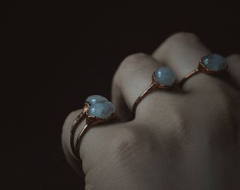 Moonstone ring · crystal stacking ring · raw crystal ring · thin band ring · copper electroformed ring · rustic crystal ring · mineral ring