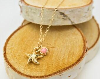 Gold Starfish Bracelet Gift For Teen, Charm Bracelet For Her, Dainty Coral Bracelet For Friend, Simple Gold Charm Bracelet For Birthday Gift