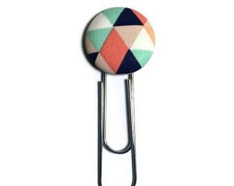 Geometric bookmark, fabric button bookmark, planner bookmark, planner accessories, paper clip bookmark, book lover gift, colourful bookmark