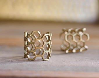 Honeycomb Geometric Ring // Boho Brass Hexagon Ring