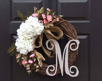 Monogram Wreath - Spring Wreath - Valentines Day Wreath - Initial Wreath - Front Door Wreath - Wreath with Monogram - Everyday Wreath