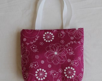 Fabric Gift Bag/ Small Tote/ Hostess Gift Bag- Floral Doodles on Purple