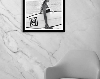 surf art, surf print, Chanel inspired decor, black and white photography, fashion wall art, fashion photography, digital download, instant