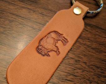 Leather Keychain Buffalo Stamped